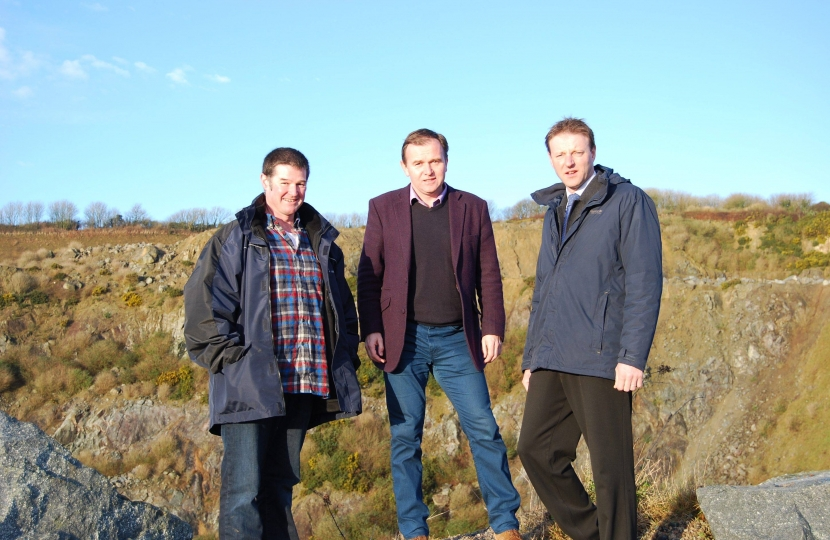 Toby Roskilly, George Eustice and Derek Thomas at Dean Quarry